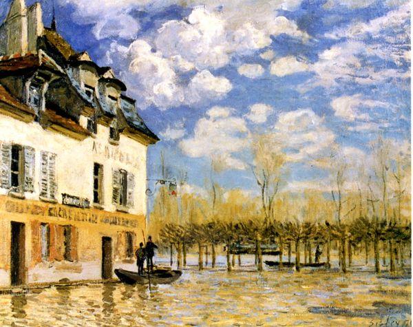 Sisley,Labarquependantl'inondation
