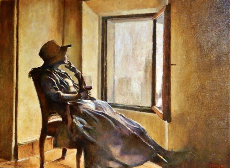 Femme assise au verre-J.Ducreux