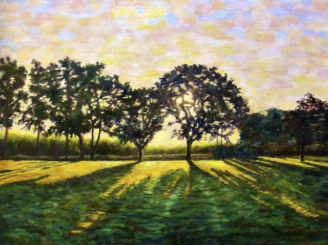 Lever de soleil da,ns les chênes-F.F.Dubourg